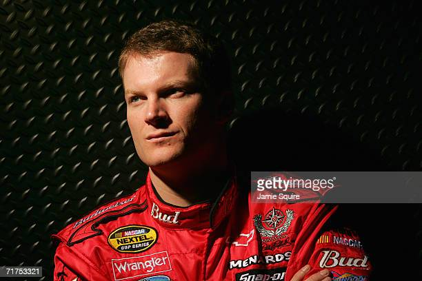 Dale Earnhardt Jr poses for a portrait during a photo session as part of NASCAR Media day on February 9 2006 at Daytona International Speedway in...