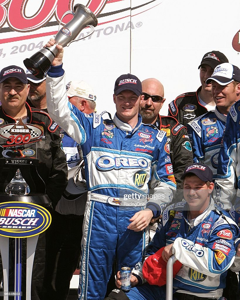 Dale Earnhardt Jr. won the Hershey's Take 5 300 NASCAR Busch Series (now Nationwide) in a Chevrolet, after starting eigth in his No. 8 car. He made only four starts that year, winning twice.