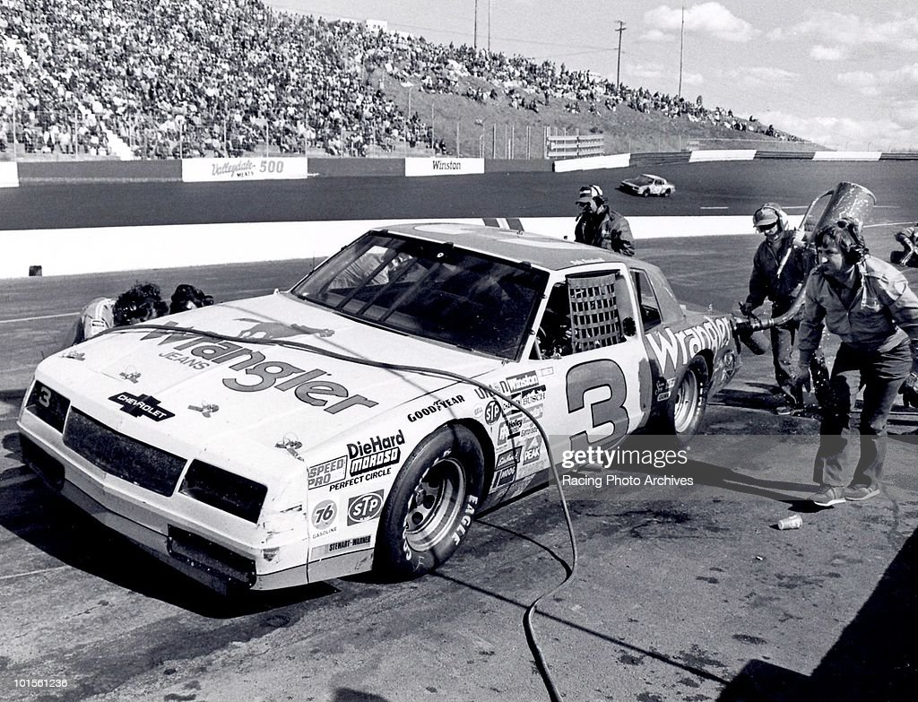 Dale Earnhardt takes his final pit stop before going on to win the Valleydale 500. Earnhardt would win $31,525 for the race.