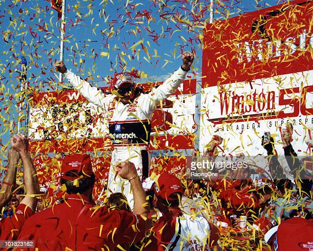Dale Earnhardt won the seasonÕs final No Bull 5 event his first for the special milliondollar bonus This was his 10th career victory at Talladega