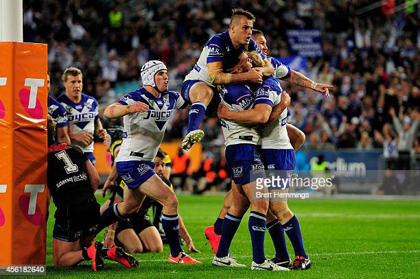 Dale Finucane of the Bulldogs celebrates scoring a try during the NRL Second Preliminary Final match between the Penrith Panthers and the Canterbury...