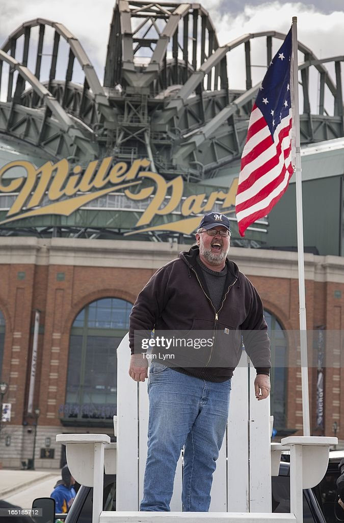 Dale Gierach stands on his big chair while tailgating before the game between the Milwaukee Brewers and Colorado Rockies on opening day at Miller Park on April 1, 2013 in Milwaukee, Wisconsin.