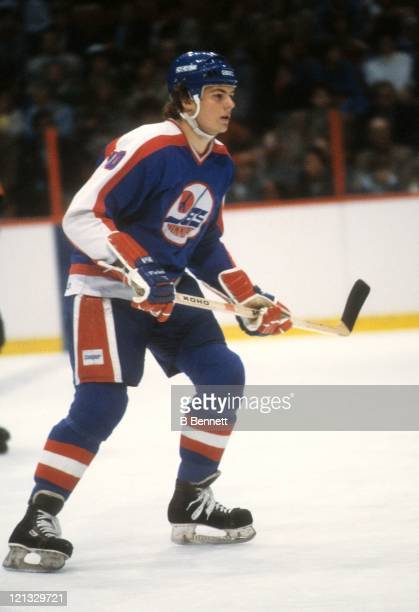 Dale Hawerchuk of the Winnipeg Jets skates on the ice during an NHL game against the Philadelphia Flyers on December 1 1981 at the Spectrum in...