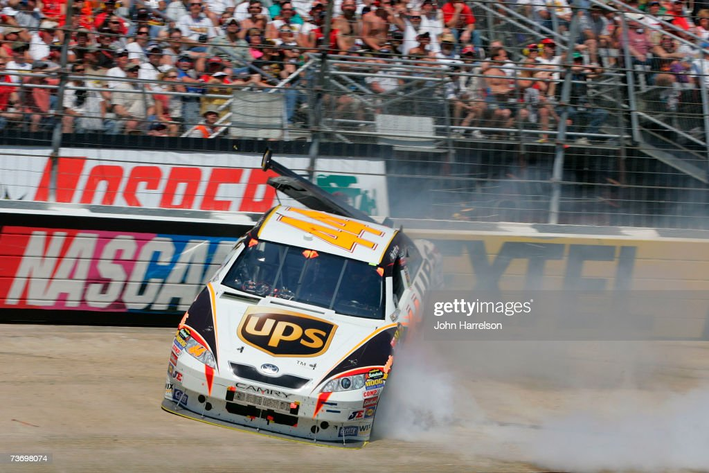 Dale Jarrett driver of the UPS Toyota crashes during the NASCAR Nextel Cup Series Food City 500 at Bristol Motor Speedway on March 25 2007 in Bristol...