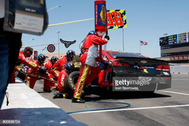 Dale Jr comes in for full service stop during the NASCAR Monster Energy Cup Series Toyota/Save Mart 350 on June 25 2017 at Sonoma Raceway in Sonoma CA