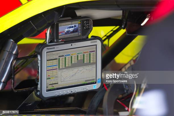 Dale Jr looks over data of his last run during the Toyota/Save Mart 350 practice on June 23 2017 at Sonoma Raceway in Sonoma CA