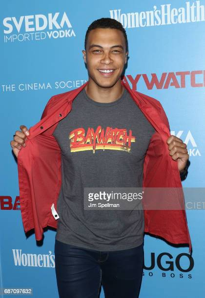 Dale Moss attends the screening of 'Baywatch' hosted by The Cinema Society at Landmark Sunshine Cinema on May 22 2017 in New York City