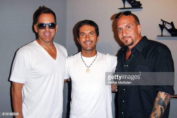 Dale Rhodes Kahlel Rafati and Mark Racco attend Elijah Blue 'Stuff of Legends' presented by Kantor Gallery and Madison Gallery at Malibu on July 2...