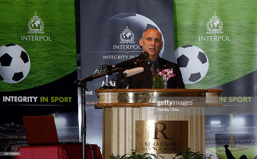 Dale Sheehan, INTERPOL Director Capacity Building and Training speaks during an INTERPOL (International Criminal Police Organization) conference at a Hotel on February 20, 2013 in Kuala Lumpur, Malaysia. Law enforcement officials and representatives from football associations gather in Malaysia to discuss 'Match fixing: The Ugly Side of the Beautiful Game'.