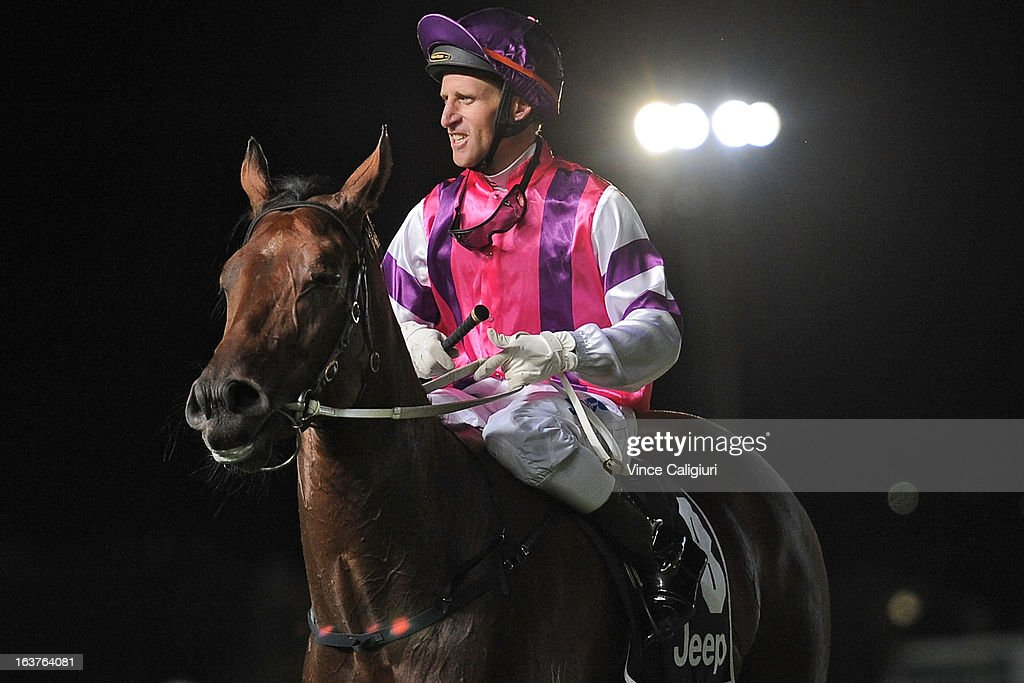 Dale Smith riding Loveyamadly after winning ADAPT Australia Abell Stakes during Melbourne racing at Moonee Valley Racecourse on March 15, 2013 in Melbourne, Australia.