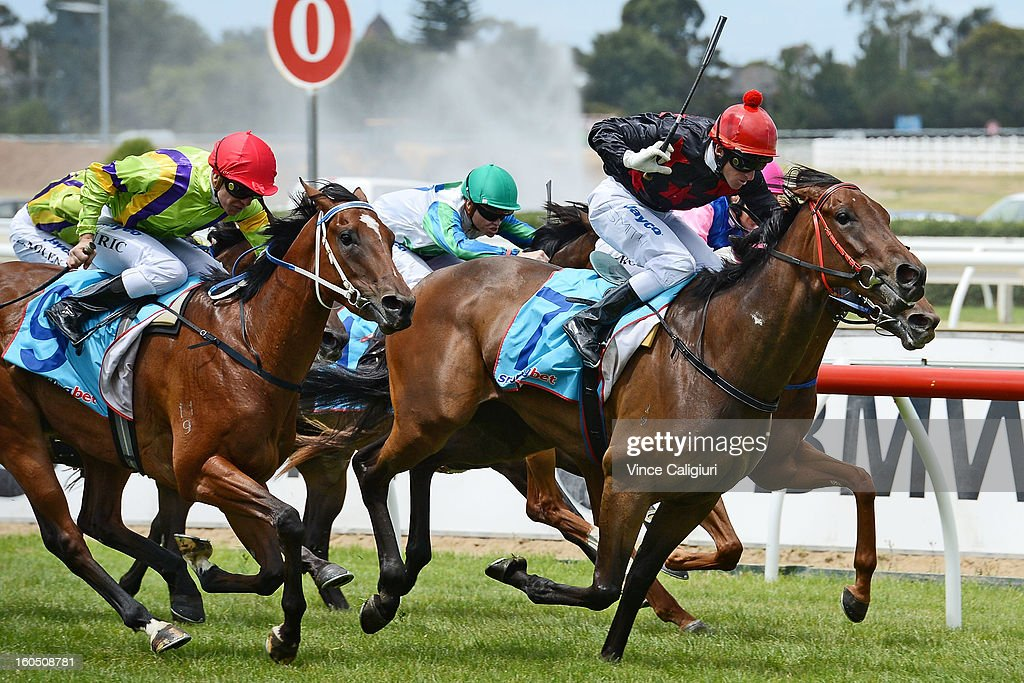 Dale Smith riding Winta Chiller races to win the Toorak Toff At Rosemont Stud Handicap during National Jockey's Trust Race Day at Caulfield Racecourse on February 2, 2013 in Melbourne, Australia.
