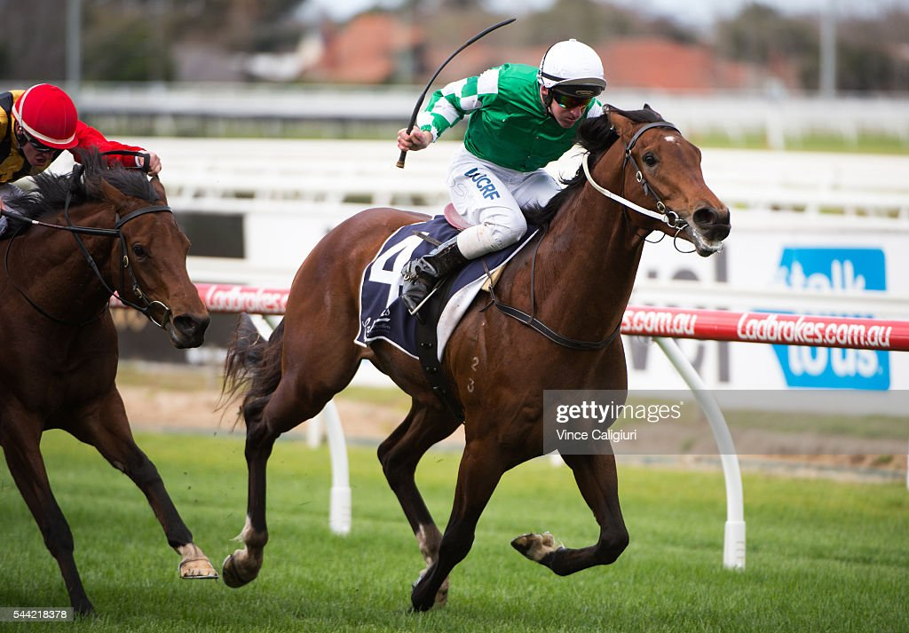 Dale Smith riding Yu Long Sheng Hui wins Race 1, during Melbourne Racing at Caulfield Racecourse on July 2, 2016 in Melbourne, Australia.