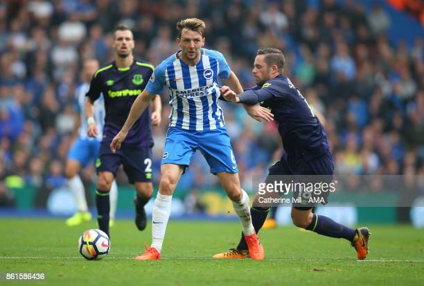 Dale Stephens of Brighton and Hove Albion tussles with Gylfi Sigurdsson of Everton during the Premier League match between Brighton and Hove Albion...