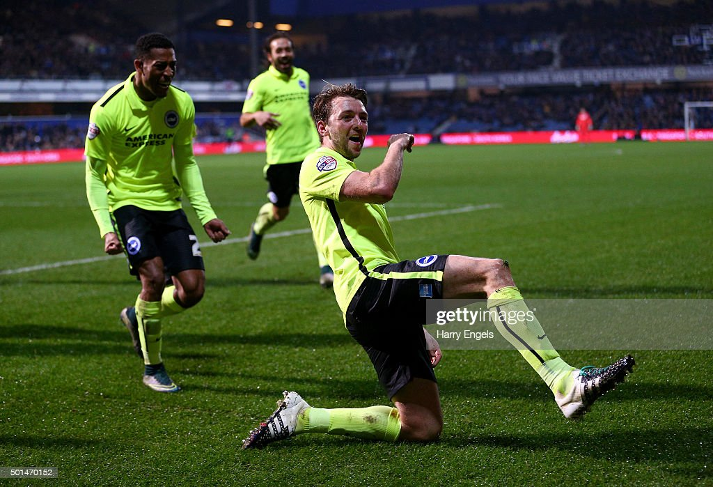 Dale Stephens of Brighton celebrates scoring his team's first goal during the Sky Bet Championship match between Queens Park Rangers and Brighton and Hove Albion at Loftus Road on December 15, 2015 in London, United Kingdom.