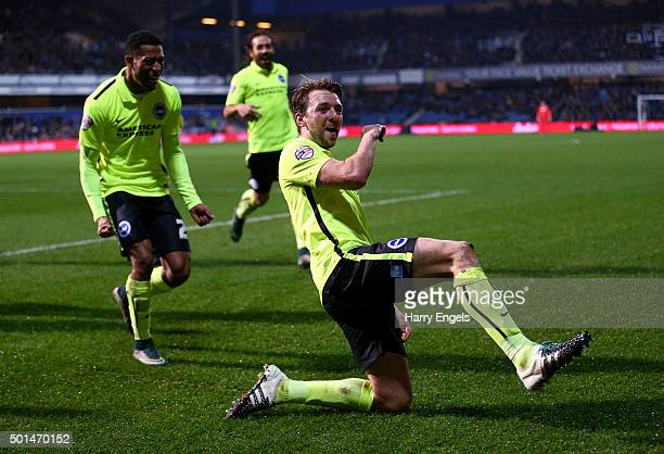Dale Stephens of Brighton celebrates scoring his team's first goal during the Sky Bet Championship match between Queens Park Rangers and Brighton and...