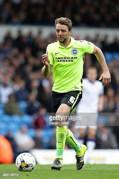 Dale Stephens of Brighton Hove Albion FC controls the ball during the Sky Bet Championship match between Leeds United and Brighton Hove Albion at...