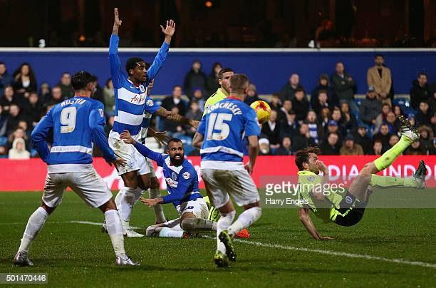Dale Stephens of Brighton scores his team's first goal during the Sky Bet Championship match between Queens Park Rangers and Brighton and Hove Albion...