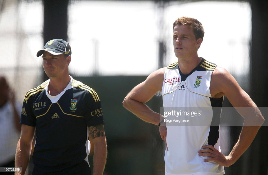 Dale Steyn and Morne Morkel look on during a South African Proteas training session at Adelaide Oval on November 20, 2012 in Adelaide, Australia.