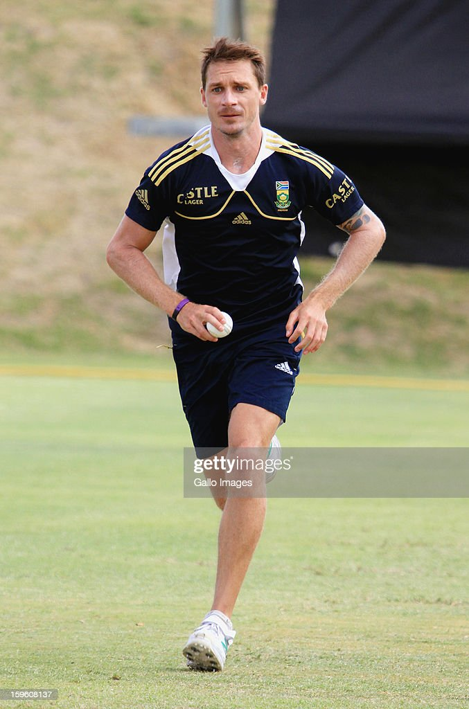 Dale Steyn attends the South African national cricket team nets session and press conference at Claremont Cricket Club on January 17, 2013 in Cape Town, South Africa.