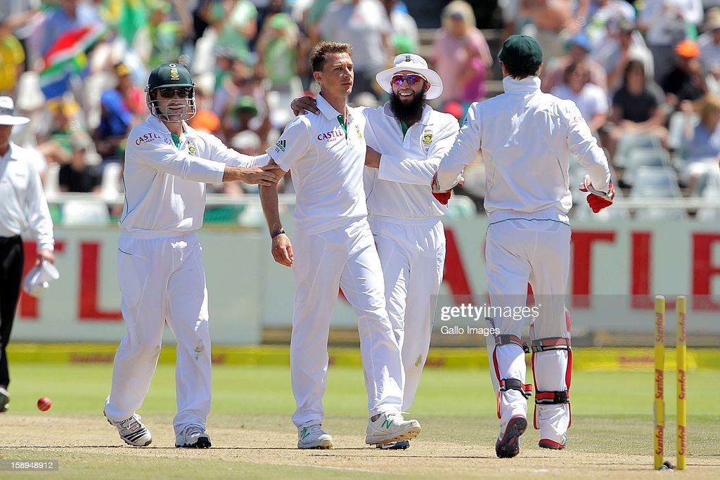 Dale Steyn celebrates another wicket during day 3 of the 1st Test between South Africa and New Zealand at Sahara Park Newlands on January 04, 2013 in Cape Town, South Africa.