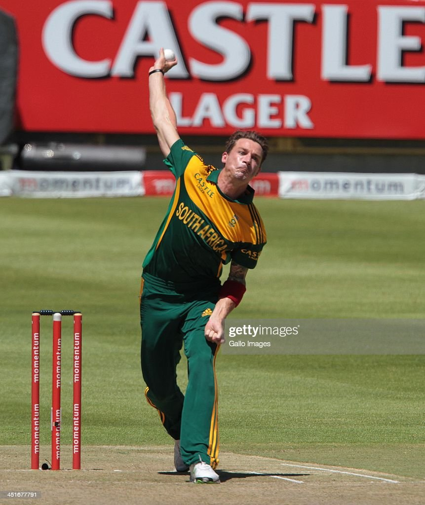 <a gi-track='captionPersonalityLinkClicked' href=/galleries/search?phrase=Dale+Steyn&family=editorial&specificpeople=649553 ng-click='$event.stopPropagation()'>Dale Steyn</a> during the 1st One Day International match between South Africa and Pakistan at Sahara Park Newlands on November 24, 2013 in Cape Town, South Africa.
