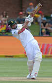 dale Steyn hits a noundary during day 3 of the 2nd Test match between South Africa and West Indies at St Georges Park on December 28 2014 in Port...