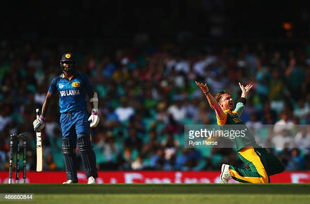Dale Steyn of South Africa appeals unsuccessfully for the wicket of Angelo Mathews of Sri Lanka during the 2015 ICC Cricket World Cup Quarter Final...