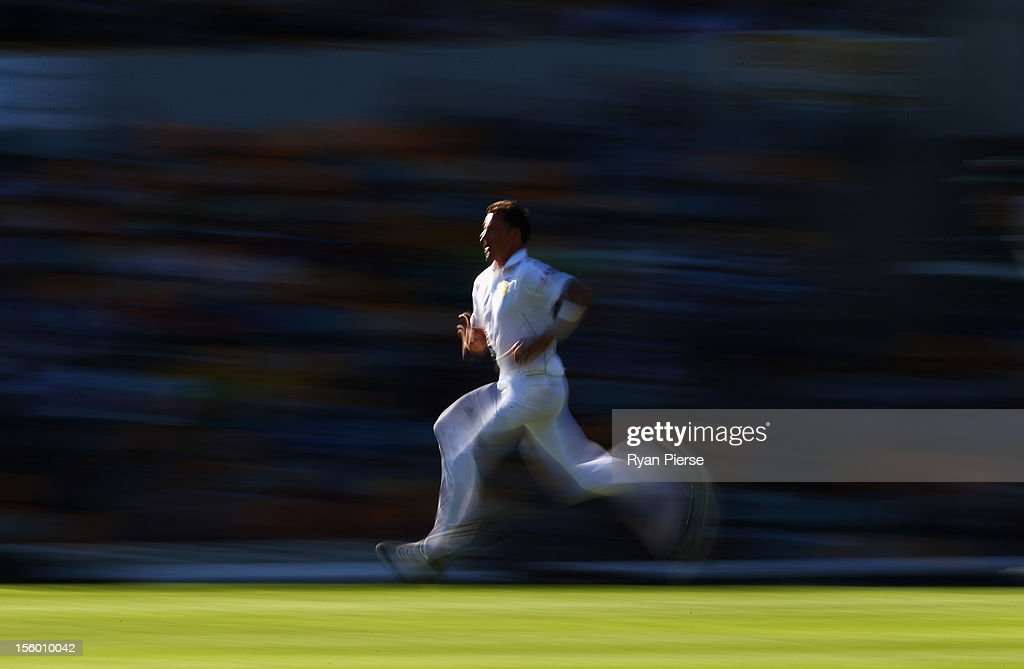 <a gi-track='captionPersonalityLinkClicked' href=/galleries/search?phrase=Dale+Steyn&family=editorial&specificpeople=649553 ng-click='$event.stopPropagation()'>Dale Steyn</a> of South Africa bowls during day three of the First Test match between Australia and South Africa at The Gabba on November 11, 2012 in Brisbane, Australia.
