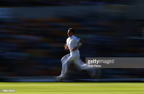 Dale Steyn of South Africa bowls during day three of the First Test match between Australia and South Africa at The Gabba on November 11 2012 in...