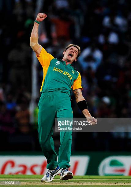 Dale Steyn of South Africa celebrates after bowling Munaf Patel of India during the Group B ICC World Cup Cricket match between India and South...