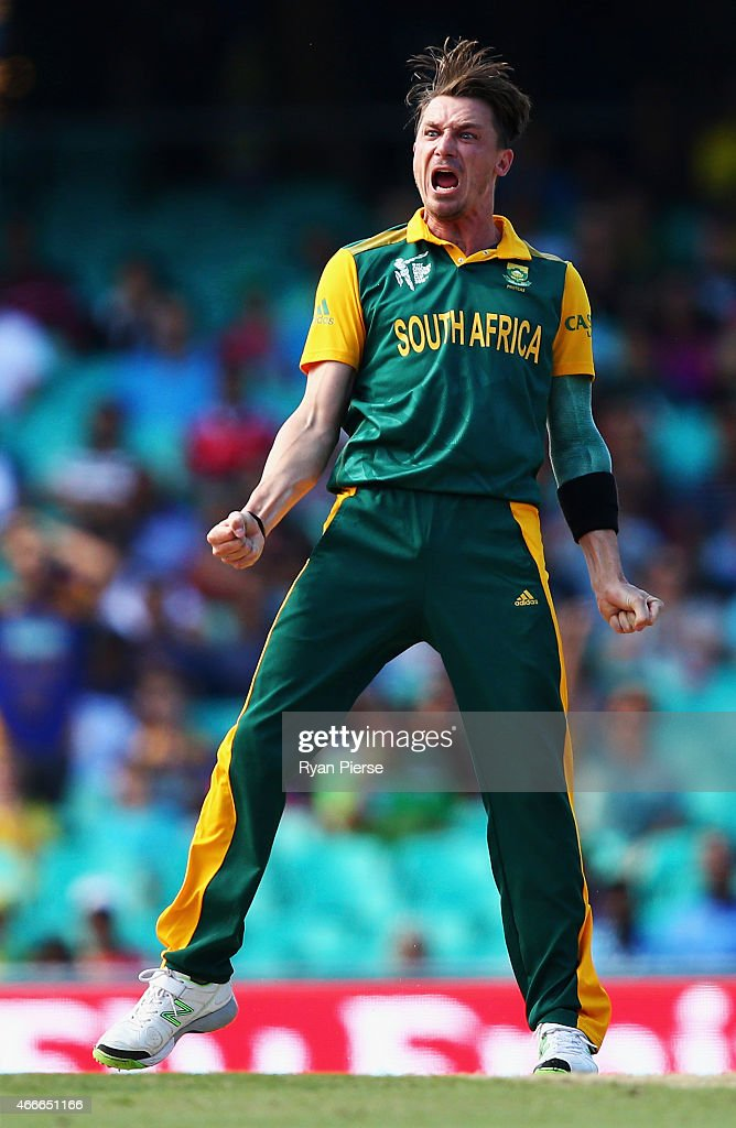<a gi-track='captionPersonalityLinkClicked' href=/galleries/search?phrase=Dale+Steyn&family=editorial&specificpeople=649553 ng-click='$event.stopPropagation()'>Dale Steyn</a> of South Africa celebrates after taking the wicket of Tillakaratne Dilshan of Sri Lanka during the 2015 ICC Cricket World Cup Quarter Final match between South Africa and Sri Lanka at Sydney Cricket Ground on March 18, 2015 in Sydney, Australia.