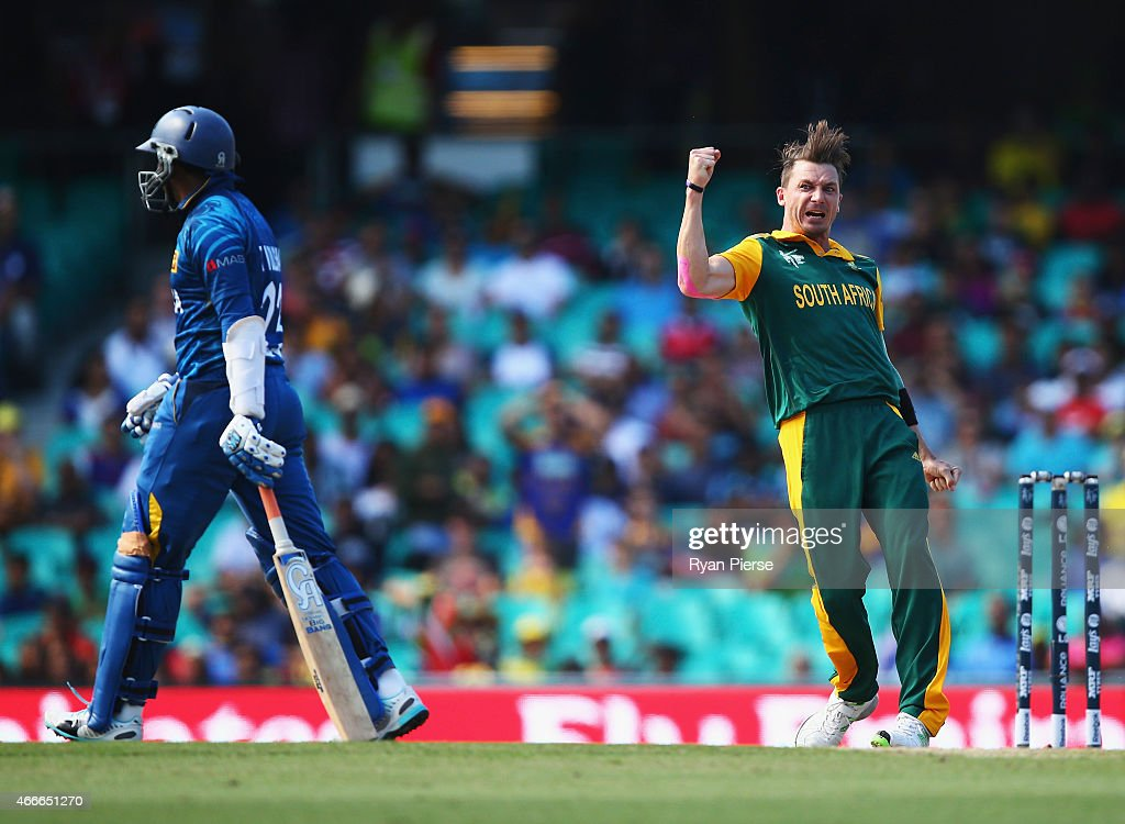 <a gi-track='captionPersonalityLinkClicked' href=/galleries/search?phrase=Dale+Steyn&family=editorial&specificpeople=649553 ng-click='$event.stopPropagation()'>Dale Steyn</a> of South Africa celebrates after taking the wicket of <a gi-track='captionPersonalityLinkClicked' href=/galleries/search?phrase=Tillakaratne+Dilshan&family=editorial&specificpeople=239186 ng-click='$event.stopPropagation()'>Tillakaratne Dilshan</a> of Sri Lanka during the 2015 ICC Cricket World Cup Quarter Final match between South Africa and Sri Lanka at Sydney Cricket Ground on March 18, 2015 in Sydney, Australia.