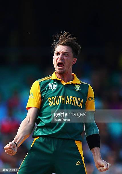 Dale Steyn of South Africa celebrates after taking the wicket of Tillakaratne Dilshan of Sri Lanka during the 2015 ICC Cricket World Cup Quarter...