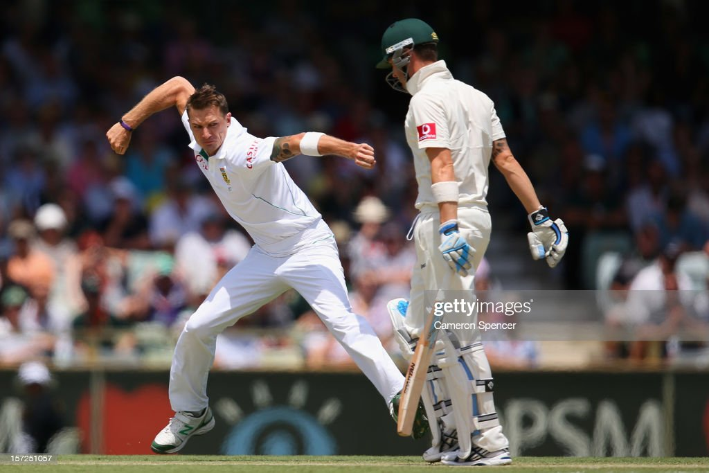 <a gi-track='captionPersonalityLinkClicked' href=/galleries/search?phrase=Dale+Steyn&family=editorial&specificpeople=649553 ng-click='$event.stopPropagation()'>Dale Steyn</a> of South Africa celebrates dismissing Australian captain Michael Clarke during day two of the Third Test Match between Australia and South Africa at the WACA on December 1, 2012 in Perth, Australia.