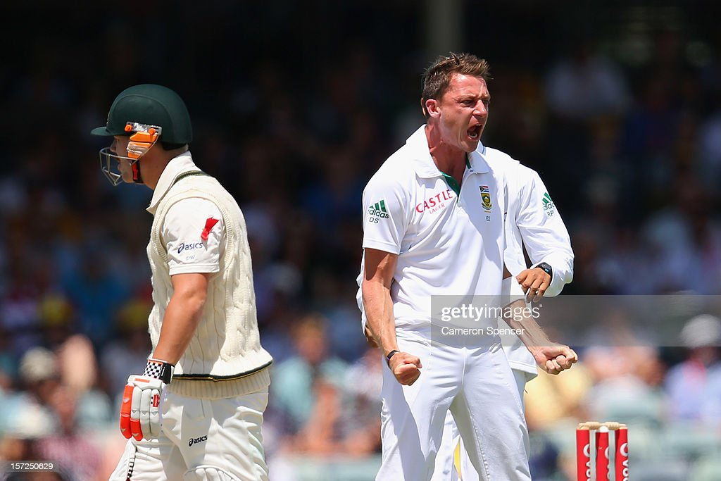 <a gi-track='captionPersonalityLinkClicked' href=/galleries/search?phrase=Dale+Steyn&family=editorial&specificpeople=649553 ng-click='$event.stopPropagation()'>Dale Steyn</a> of South Africa celebrates dismissing David Warner of Australia during day two of the Third Test Match between Australia and South Africa at the WACA on December 1, 2012 in Perth, Australia.