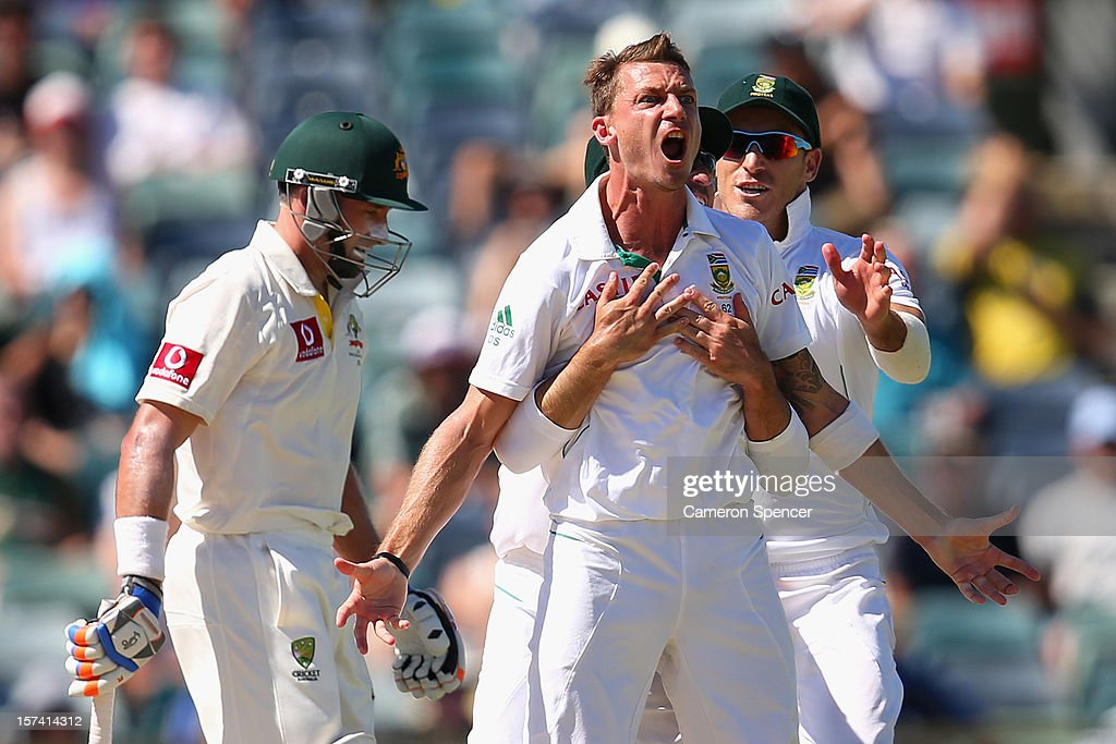 <a gi-track='captionPersonalityLinkClicked' href=/galleries/search?phrase=Dale+Steyn&family=editorial&specificpeople=649553 ng-click='$event.stopPropagation()'>Dale Steyn</a> of South Africa celebrates dismissing Michael Hussey of Australia during day four of the Third Test Match between Australia and South Africa at WACA on December 3, 2012 in Perth, Australia.