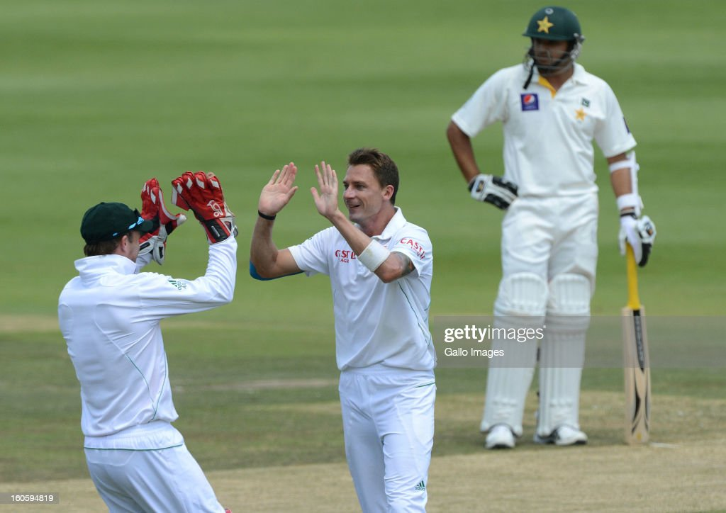 <a gi-track='captionPersonalityLinkClicked' href=/galleries/search?phrase=Dale+Steyn&family=editorial&specificpeople=649553 ng-click='$event.stopPropagation()'>Dale Steyn</a> of South Africa celebrates getting the wicket of Nazir Jamshed of Pakistan for 46 runs during day 3 of the 1st Test match between South Africa and Pakistan at Bidvest Wanderers Stadium on February 03, 2013 in Johannesburg, South Africa.