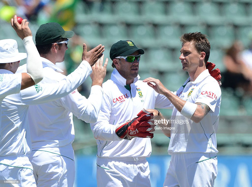 <a gi-track='captionPersonalityLinkClicked' href=/galleries/search?phrase=Dale+Steyn&family=editorial&specificpeople=649553 ng-click='$event.stopPropagation()'>Dale Steyn</a> of South Africa celebrates his fith wicket during day 3 of the 2nd Test match between South Africa and New Zealand at Axxess St Georges on January 13, 2013 in Port Elizabeth, South Africa.