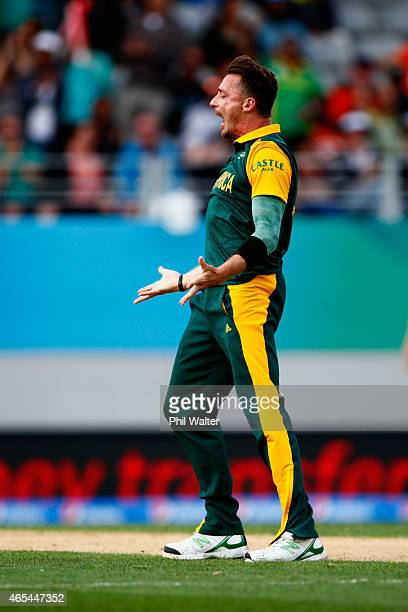 Dale Steyn of South Africa celebrates his wicket of MisbahulHaq of Pakistan during the 2015 ICC Cricket World Cup match between South Africa and...