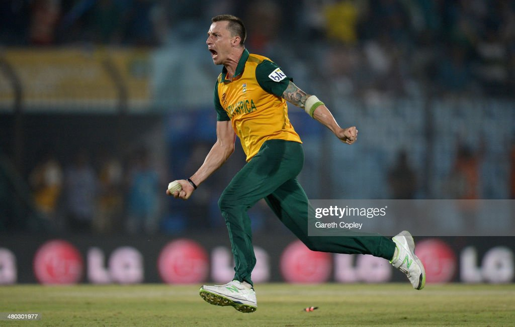 Dale Steyn of South Africa celebrates running out Ross Taylor of New Zealand to win the ICC World Twenty20 Bangladesh 2014 Group 1 match between New Zealand and South Africa at Zahur Ahmed Chowdhury Stadium on March 24, 2014 in Chittagong, Bangladesh.