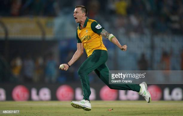 Dale Steyn of South Africa celebrates running out Ross Taylor of New Zealand to win the ICC World Twenty20 Bangladesh 2014 Group 1 match between New...