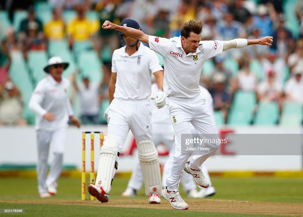 <a gi-track='captionPersonalityLinkClicked' href=/galleries/search?phrase=Dale+Steyn&family=editorial&specificpeople=649553 ng-click='$event.stopPropagation()'>Dale Steyn</a> of South Africa celebrates taking the wicket of <a gi-track='captionPersonalityLinkClicked' href=/galleries/search?phrase=Alastair+Cook+-+Cricket+Player&family=editorial&specificpeople=571475 ng-click='$event.stopPropagation()'>Alastair Cook</a> of England during day one of the 1st Test between South Africa and England at Sahara Stadium Kingsmead on December 26, 2015 in Durban, South Africa.