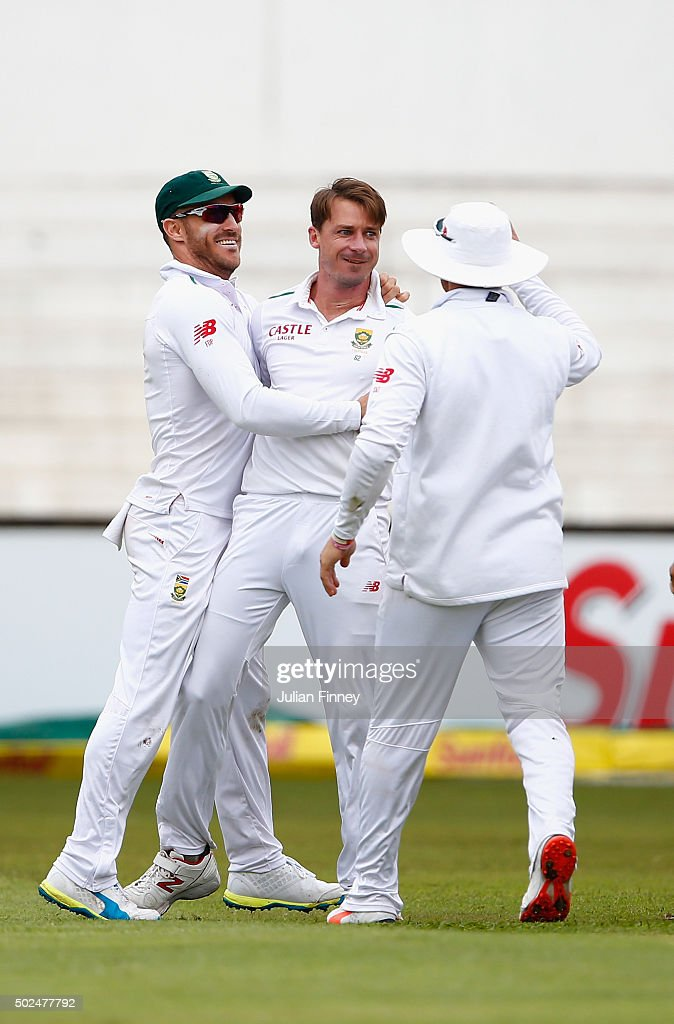 Dale Steyn of South Africa celebrates taking the wicket of Alex Hales of England during day one of the 1st Test between South Africa and England at Sahara Stadium Kingsmead on December 26, 2015 in Durban, South Africa.
