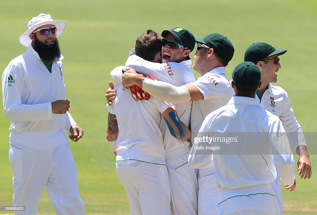 <a gi-track='captionPersonalityLinkClicked' href=/galleries/search?phrase=Dale+Steyn&family=editorial&specificpeople=649553 ng-click='$event.stopPropagation()'>Dale Steyn</a> of South Africa celebrates the wicket of Asad Shafiq of Pakistan for 56 runs during day 4 of the 1st Test match between South Africa and Pakistan at Bidvest Wanderers Stadium on February 4, 2013 in Johannesburg, South Africa.