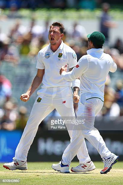 Dale Steyn of South Africa celebrates the wicket of David Warner of Australia during day two of the First Test match between Australia and South...