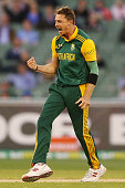 Dale Steyn of South Africa celebrates the wicket of George Bailey of Australia during game four of the One Day International series between Australia...