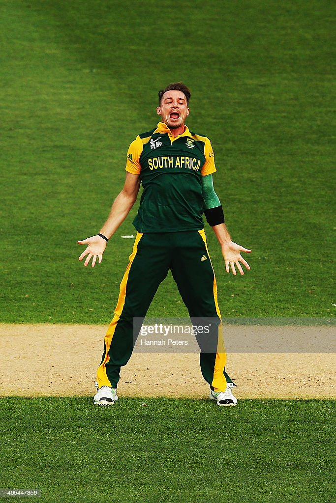 Dale Steyn of South Africa celebrates the wicket of MisbahulHaq of Pakistan during the 2015 ICC Cricket World Cup match between South Africa and...