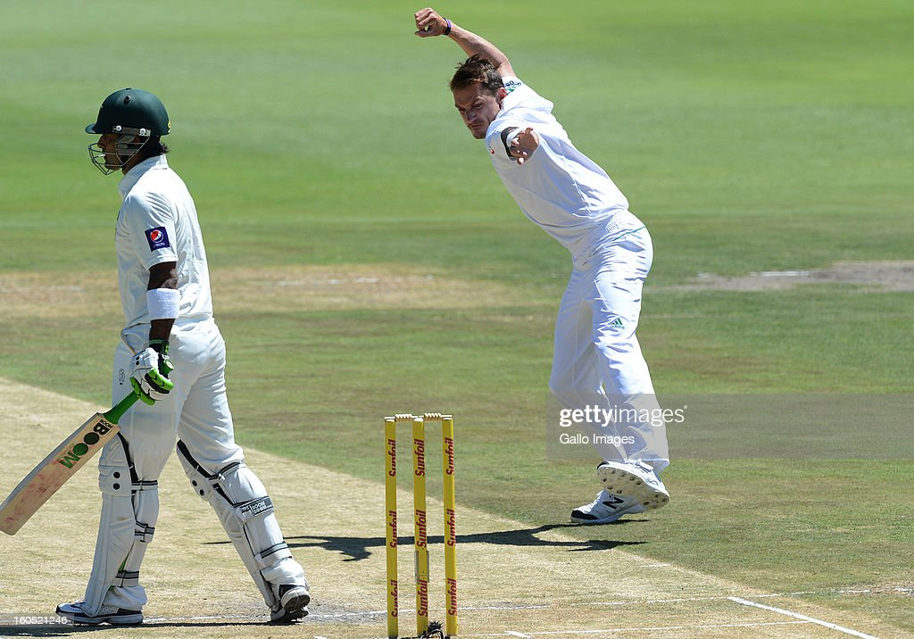 Dale Steyn of South Africa celebrates the wicket of Muhammad Hafeez of Pakistan for 6 runs during day 2 of the 1st Test match between South Africa and Pakistan at Bidvest Wanderers Stadium on February 02, 2013 in Johannesburg, South Africa.