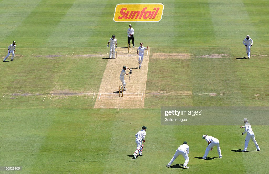 Dale Steyn of South Africa celebrates the wicket of Younis Khan of Pakistan for a duck during day 2 of the 1st Test match between South Africa and Pakistan at Bidvest Wanderers Stadium on February 02, 2013 in Johannesburg, South Africa.