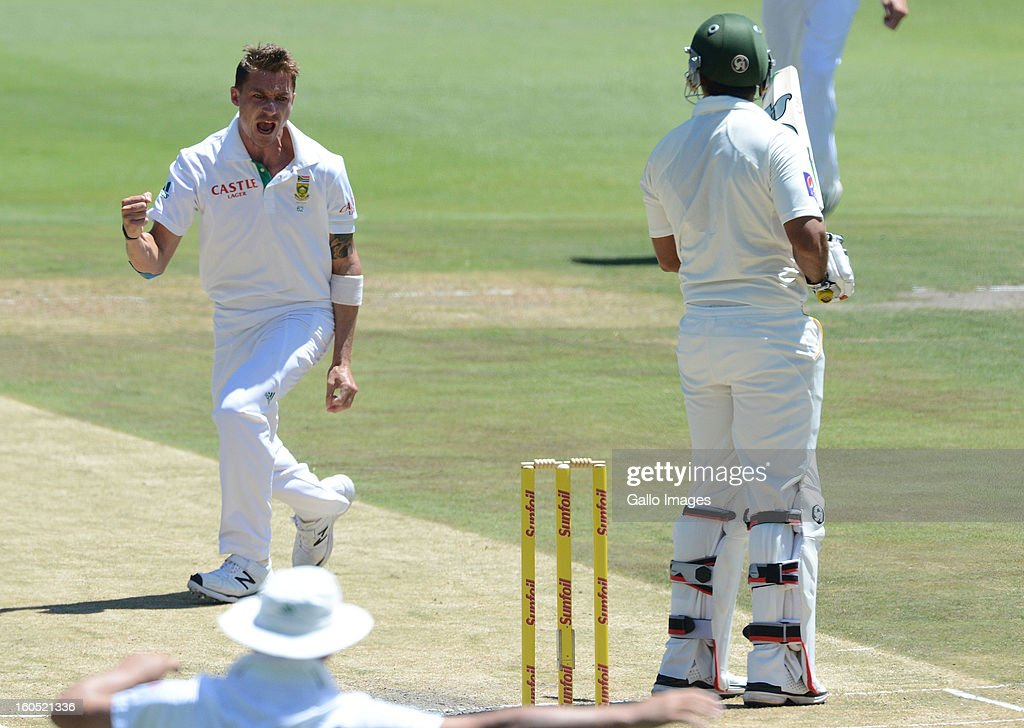 <a gi-track='captionPersonalityLinkClicked' href=/galleries/search?phrase=Dale+Steyn&family=editorial&specificpeople=649553 ng-click='$event.stopPropagation()'>Dale Steyn</a> of South Africa (L) gets the wicket of Nazir Jamshed of Pakistan for 2 runs during day 2 of the 1st Test match between South Africa and Pakistan at Bidvest Wanderers Stadium on February 02, 2013 in Johannesburg, South Africa.